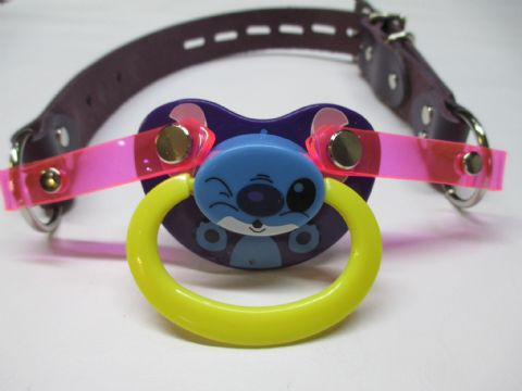 Cute Purple Koala Design leather Pacigag Featuring a detachable AB Pacifier